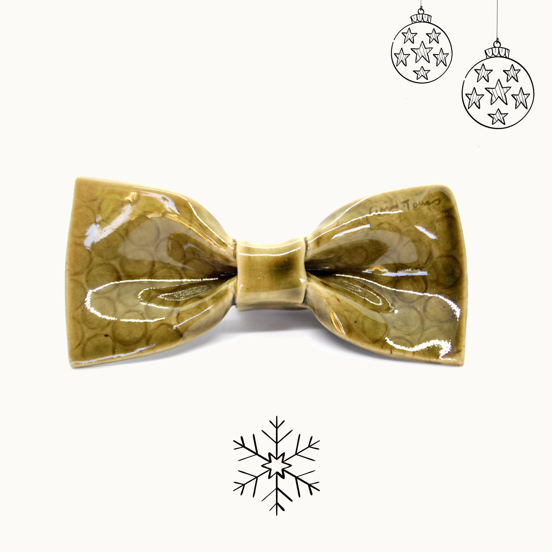 Bowtery Oliva Handmade Ceramic Bow tie. Pajarita de cerámica hecha a mano. Regalo de navidad original