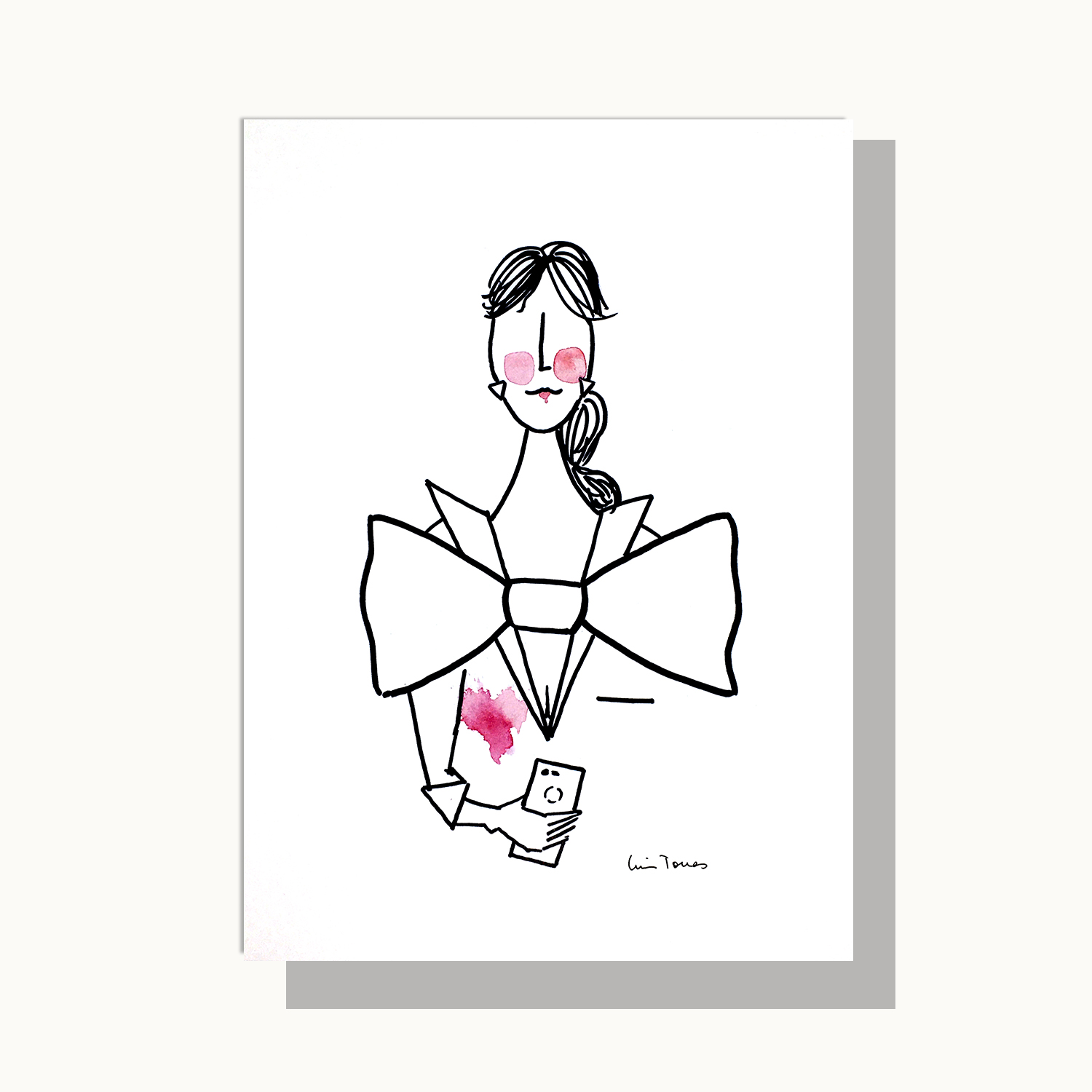 Ilustración Bowtery de mujer con pajarita y teléfono móvil personalizable. Illustration customize woman with bow tie and mobile phone business