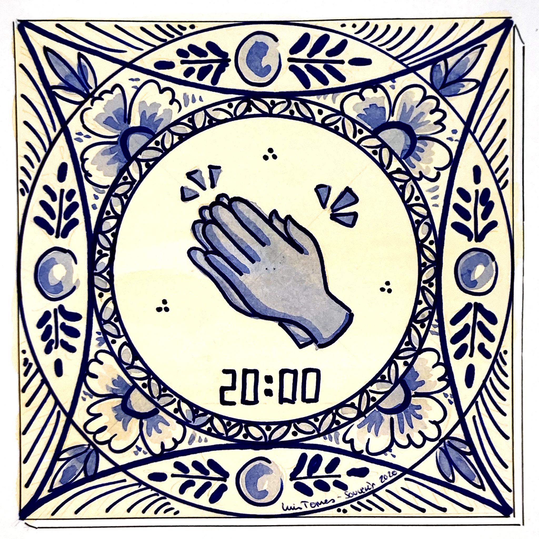 Azulejo tradicional cerámica española decorativo recuerdo confinamiento 2020 souvenir aplauso sanitario