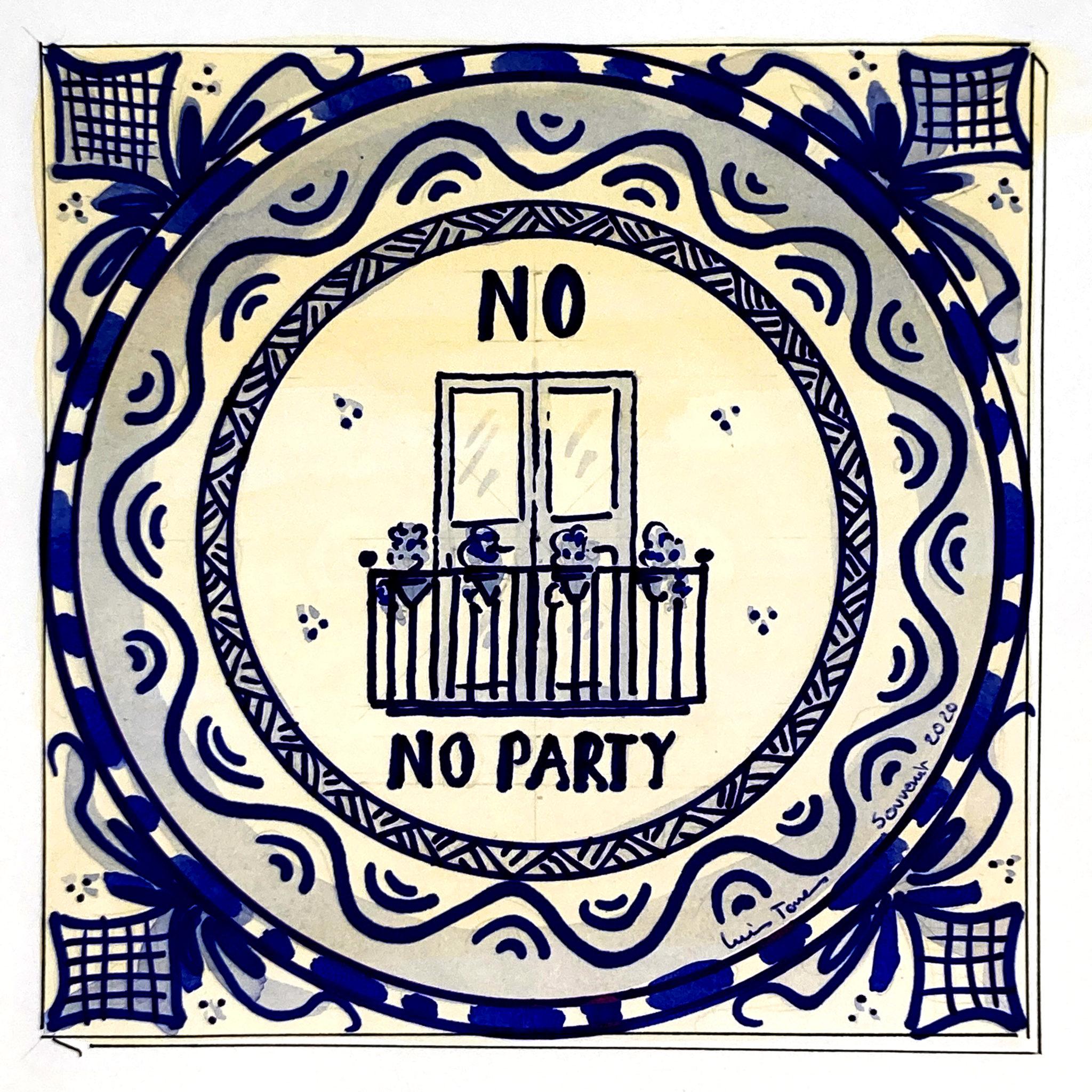 Azulejo tradicional cerámica española diseño moderno recuerdo souvenir confinamiento 2020 covid19 vida y fiesta en los balcones