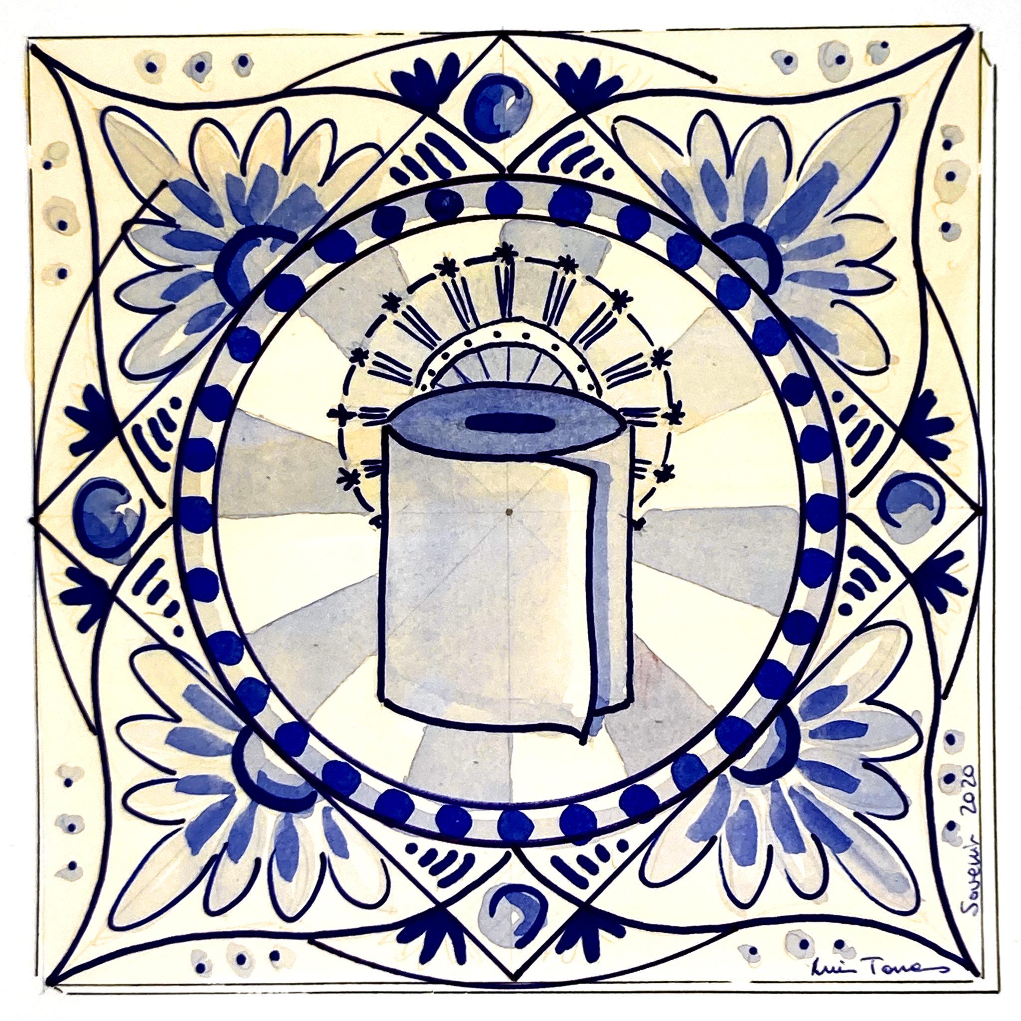 Azulejo tradicional cerámica española diseño moderno recuerdo souvenir del confinamiento 2020 cuando no había papel higiénico